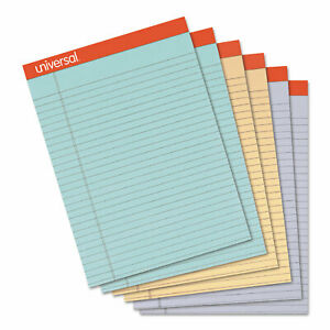Universal Fashion Colored Perforated Ruled Writing Pads Wide 8 1 2x11 3 4 50