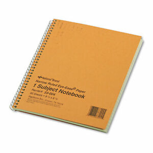 National Subject Wirebound Notebook Narrow Rule 8 1 4 X 6 7 8 Green 80 Sheets