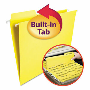Smead Fastab Hanging File Folders Letter Yellow 20 box 64097