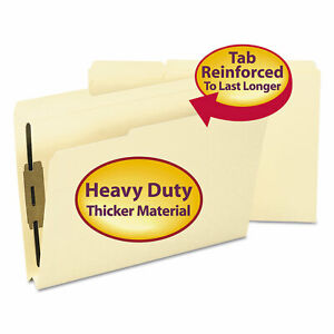 Smead 1 1 2 Inch Expansion Folders Two Fasteners 1 3 Top Tab Legal Manila 50 box