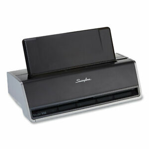 Swingline 28 sheet Commercial Electric Two hole Punch Fixed 1 4 inch Holes Black