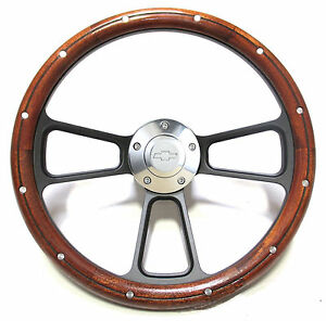 Custom Dark Wood Billet Steering Wheel Kit For 1957 1963 Chevy Bel Air Impala