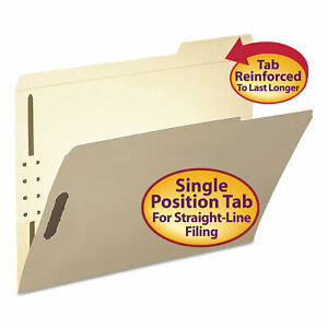 Smead Folder Two Fasteners 1 3 Cut Third Position Top Tab Letter Manila 50 box
