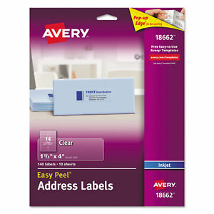 Avery Clear Easy Peel Mailing Labels Inkjet 1 1 3 X 4 140 pack 18662