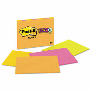 Post it Notes Super Sticky Meeting Notes In Rio De Janeiro Colors Lined 8 X 6