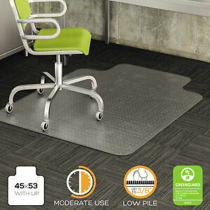 Deflecto Duramat Moderate Use Chair Mat For Low Pile Carpet Beveled 45x53 W lip