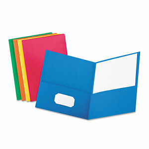 Oxford Twin pocket Folder Embossed Leather Grain Paper Assorted Colors 25 box