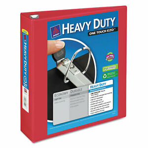 Avery Heavy duty View Binder W locking 1 touch Ezd Rings 2 Cap Red 79225