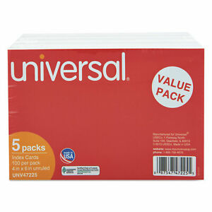 Universal Unruled Index Cards 4 X 6 White 500 pack 47225
