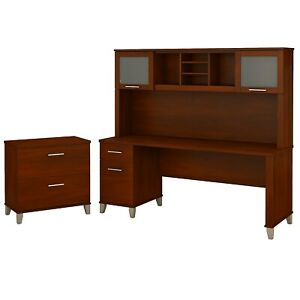 Bush Furniture Somerset 72w Office Desk W hutch And Lateral File Cabinet Cherry