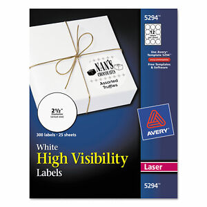 Avery High visibility Round Permanent Id Labels Laser 2 1 2 Dia White 300 pack