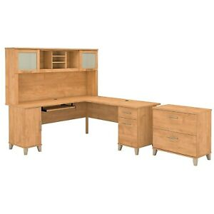 Bush Furniture Somerset 72w L Shaped Desk W hutch And Lateral File Cabinet Maple