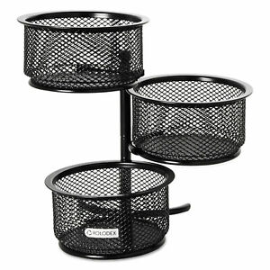 Rolodex 3 Tier Wire Mesh Swivel Tower Paper Clip Holder 3 3 4 X 6 1 2 X 6 Black