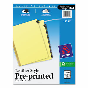 Avery Preprinted Black Leather Tab Dividers W gold Reinforced Edge 12 tab Ltr