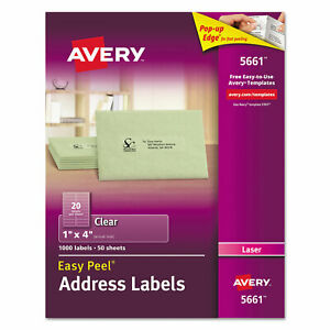 Avery Clear Easy Peel Address Labels Laser 1 X 4 1000 box 5661