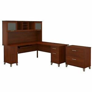 Bush Furniture Somerset 72w L Shaped Desk W hutch And Lateral File Cabinet