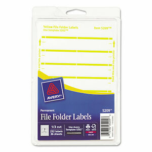 Avery Print Or Write File Folder Labels 11 16 X 3 7 16 White yellow Bar 252 pack