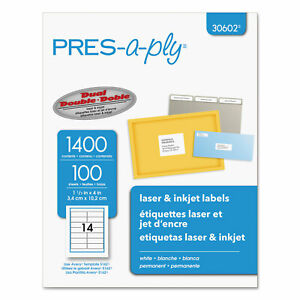 Pres a ply Laser Address Labels 1 1 3 X 4 White 1400 box 30602