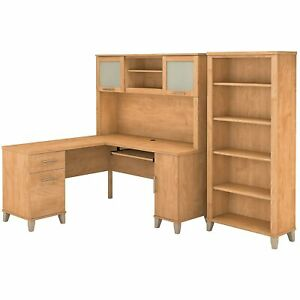 Bush Furniture Somerset 60w L Shaped Desk W hutch And 5 Shelf Bookcase Maple