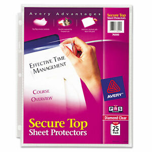 Avery Secure Top Sheet Protectors Super Heavy Gauge Letter Diamond Clear 25 pack