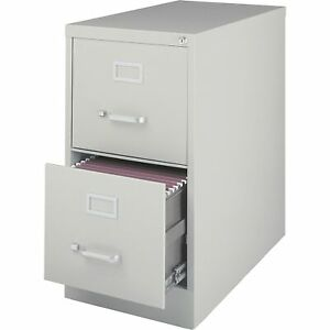 Lorell 2 drawer Vertical File W Lock 15 x26 1 2 x28 3 8 Lt Gray 60195