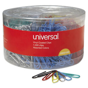 Universal Vinyl coated Wire Paper Clips No 1 Assorted Colors 1000 pack 21000