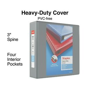 Staples Heavy duty 3 inch D 3 ring View Binder Gray 26368 976043