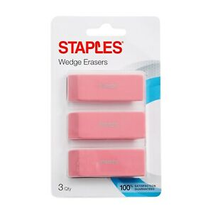 Staples Erasers Pink 3 pack 10433 cc 271031