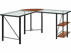 Ameriwood Aden L Glass Desk Gray 9379096 100780