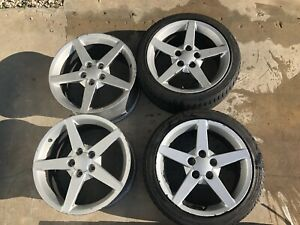 2005 2012 Corvette C6 Staggered 5 Star Wheels Caps Front Tires Oem 18 19
