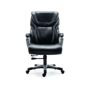 Staples Denaly Bonded Leather Big Tall Managers Chair Black 51468