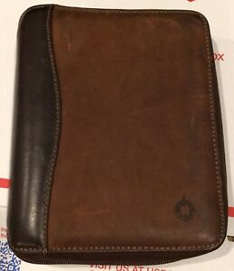 Franklin Covey 2 Tone Brown Full Grain Leather 6 Ring Zip Around Binder Usa