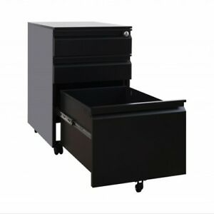 3 Drawer Mobile File Letter Cabinet With Lock Metal Filing Cabinet Black White