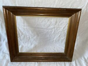 Vintage Old Wood Picture Deep Frame With Gold Inlay 11 X 14 Shadow Box Style