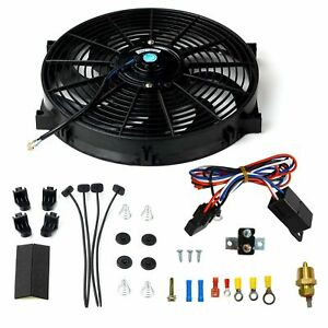14 Electric Radiator Fan High 900 Cfm Thermostat Wiring Switch Relay Kit Black