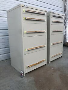 2 Stanley Vidmar 5 Drawer Industrial Tool Cabinets 30x28x59 No Drawer Dividers