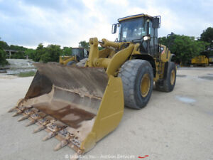 2010 Caterpillar 966h 4wd Articulated Wheel Loader Tractor Cab Diesel Bidadoo