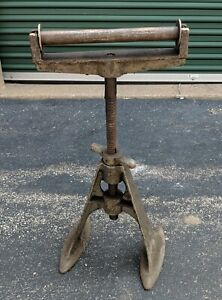 Vintage American Industrial Cast Iron Factory Machine Pedestal Base Stand Roller