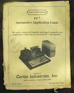 Vintage Curtis Pc Key Code Cutter Machine Application Guide Plus Locksmith