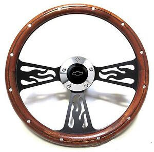 1969 1973 Chevelle Steering Wheel Wood Billet Flamed Design With Adapter Horn