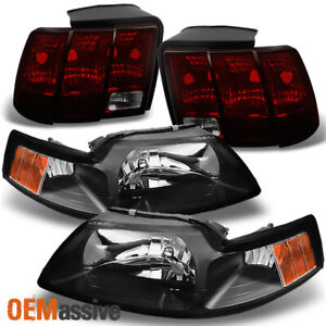 Fit 99 04 Ford Mustang Black Headlights Dark Red Tail Lights Replacements