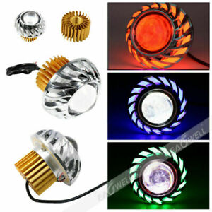 Motorcycle Led Headlight Projector Lens Angel Devil Eye Halo Blue Green Red 30w