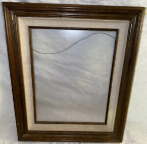 Vintage Old Wood Picture Frame Fabric Liner Fits 11 X 14 Picture Glass