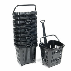 Convenience Store Shopping Rolling Plastic Shopping Basket Set Of 10 Black New