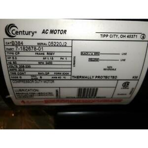 Century B384 5hp Capacitor Start run Continuous Light Duty Air Compressor Motor
