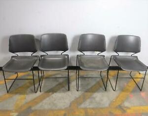 Lot Of 4 Stackable Reception Office Chairs Black Local Pickup