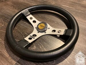 Oba 350mm Black Leather Steering Wheel Vintage Rare Nardi Momo