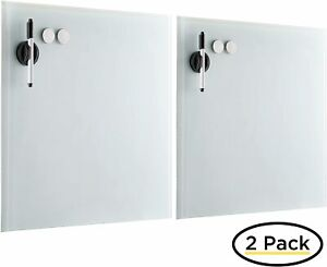 Birdrock Home 2 Pack Magnetic Glass Writing Board White 1 0993