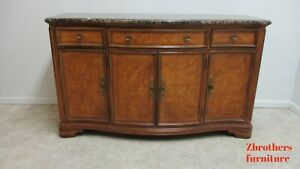 Thomasville French Serpentine Marble Top Sideboard Server Buffet Cabinet