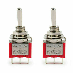2x Mini 6mm Mts 103 Toggle Switch 3 Pin 3 Position Spdt On off on 5a 125vac Us